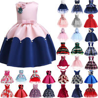 Flower Girl Dress Kids Princess Formal Party Bridesmaid Pageant Sleeveless Gown