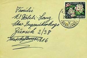 SWITZERLAND 1962 PRO JUVENTUTE FLOWER 1v ON COVER TO ZURICH