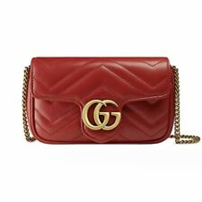 Authentic NEW Gucci GG Marmont Matelasse Leather Super Mini Bag Purse Red Gold
