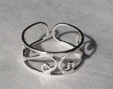 Sterling Silver 925 Toe Ring Filigree Swirl Cuff Adjustable