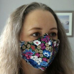 LARGE Face Mask TRIPLE Layer with POCKET Cotton Shaped Reusable Washable
