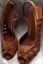 ADORABLE Brown Open Toe Wedges Sandals Heels SZ  7 ~ Wild Diva Platforms Shoes