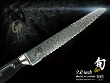 """Shun Reserve Damascus Bread Knife 9"""" Cookware KAI Japanese Cutlery Handcrafted"""