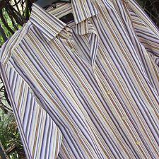 ETRO Mens Italian Designer Sexy Striped Classic button front shirt size 42