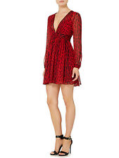 MICHAEL Michael Kors New Womens Red/Black Printed Ruched V-neck Dress  4   $160