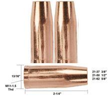 "2 Mig Welding Nozzles 21-37, 3/8"" Fit Tweco Mini#1 & Lincoln Magnum 100"