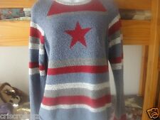 CHRISTOPHER BANKS * Denim BLUE RED WHITE & GRAY Stripe SWEATER * STAR * M / L