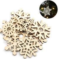 Large 10Pcs Birch Wood Wooden Snowflake Xmas Wedding Tree Hanging Ornament Decor