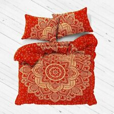 Hippie Cotton Queen Duvet Cover With Pillow Case Red Gold Color Red Gold Cover