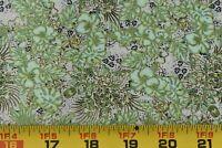 By 1/2 Yd, Green Tan Black Metallic-Gold Quilt Cotton/Print Concepts/Marc, N6199