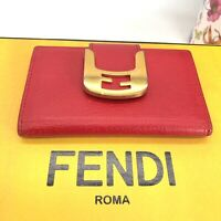 Fendi Authentic Vintage 90s FF Logo Buckle Card Holder Mini Wallet Red Leather