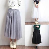 Tulle Tutu Mid-Calf Skirt Women Pleated Midi Skirt Elastic High Waist Underskirt