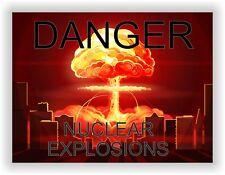 Danger Nuclear Explosions Vinyl Sticker Bumper for Laptop Tablet Door Fridge