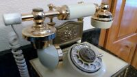 Vintage French Phone Rotary Ivory Gold Telephone