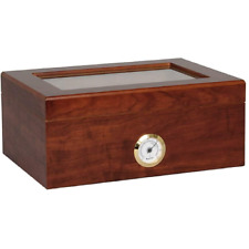 Cofanetto Porta 50 Sigari Deumidificatore con Igrometro e vetrina in Cristallo