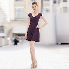 Polyester V Neck Cap Sleeve Tea Dresses