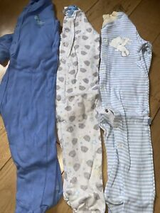 3 X Baby Boys Next Sleepsuits Babygrows 12-18 Months.
