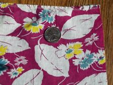 Vintage Feed Sack Feedbag Teal Pink Yellow Flowers Feathers on Wine background