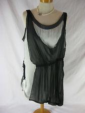 Flattering Sz 18 Mossee Grey Black Designer Tunic Top NWT