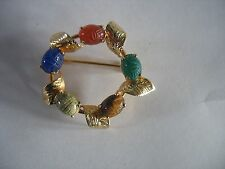 Vtg 12 K Gf Pin Brooch Egyptian Revival w multi color scarab stones & Leaves