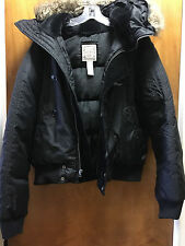 Ralph Lauren Womens Black Puffer Down Winter Jacket Faux Fur Hood Size XL