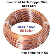 14 Ga Solid Copper Round Wire 10 Ft. Coil  Dead Soft