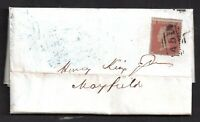 GB QV 1855 1d Red Star on Entire/Cover Lewes Cachet on Reverse WS20732