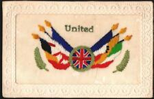 MILITARY EMBROIDERY SILK SENTIMENT UNITED FLAGS,1918. POSTCARD