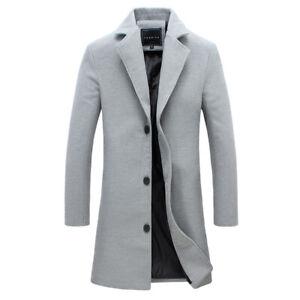 Mens Trench Coat Lapel Woolen Overcoat Slim Fit Overcoat Business Casual Outwear