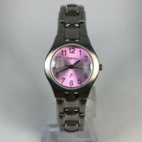 Fossil Womens ES0201 Pink Dial Stainless Steel Quartz Analog Bracelet Watch