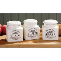 Ceramic Tea, Coffee & Sugar Jars Vintage Storage Canisters