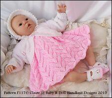 "BABYDOLL HANDKNIT DESIGNS KNITTING PATTERN F117 DRESS SET 16-20"" DOLL/0-3M BABY"