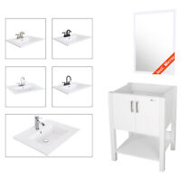 "24"" Bathroom Vanity White Combo Modern Cabinet Drop In Ceramic Vessel Sink Set"