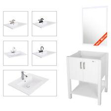 "24"" Bathroom Vanity White Combo Modern Cabinet Drop In Ceramic Vessel Sink Set"