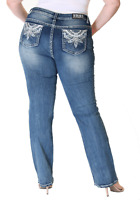 Grace In LA Jeans Mid Rise Embellished Feather Straight Leg Plus Size 18 20 22