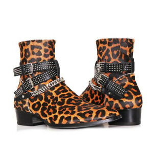 Mens Leopards Real Leather Chelsea Boots Shoes Chains Rivet Party Zip Formal L