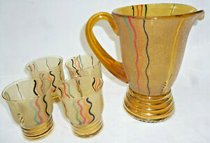 VINTAGE ART DECO LARGE 1.25 litre TEXTURED ENAMELLED GLASS JUG & 4 GLASSES - vgc