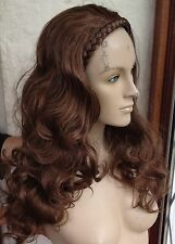 medium chestnut brown wavy curly half head long hair wig on headband fancy dress