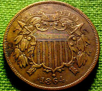 1864 Two Cent Piece 2c ~ A CIVIL WAR YEAR COIN W/ SOLID DETAILS ~ 42CO