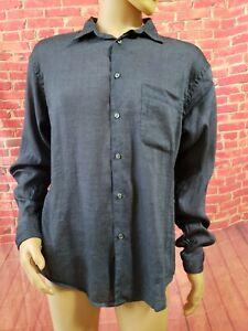 Wilke Rodriguez Size Large long sleeve Linen Striped Men's Blue/Gray shirt NWOT