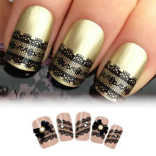 3D Black Lace Design Nail Art Stickers Flowers Manicure Decals Tips Decoration