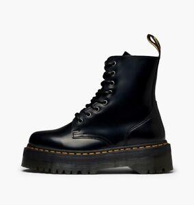 DR. MARTENS JADON POLISHED SMOOTH PLATFORM BOOTS 15265001 BLACK YELLOW