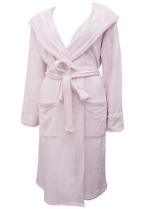 EX M&S LADIES WOMENS Super Soft Hooded Wrap Dressing Gown pink - Size 8 to 22