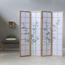 4 fach Paravent Raumteiler Shoji Bambusmuster Holz Sichtschutz Spanische Wand
