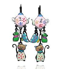 Boucles d'oreilles un chat gourmand ♥ théière rose ♥ lol bijoux ♥ créateur Paris
