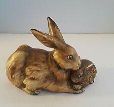 Vintage Goebel Brown Bunny Rabbit Mother & Baby Figurine Germany #34-301 1975