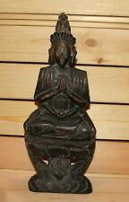 Vintage Asian hand carving wood statuette Buddha
