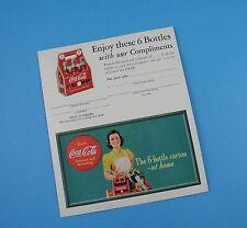 Coca Cola Advertising Card with Coupon - Original Unused 1940s - Item B