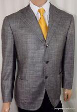SARTORIA PARTENOPEA Blazer Mens 38R Gray Woven Silk Sharkskin Sport Coat
