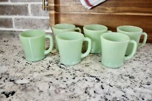 VINTAGE SET OF 6 JADEITE FIRE KING ANCHOR HOCKING USA D-HANDLE COFFEE MUGS CUPS